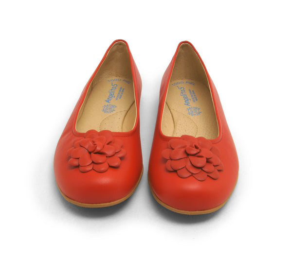 Red flats with flower