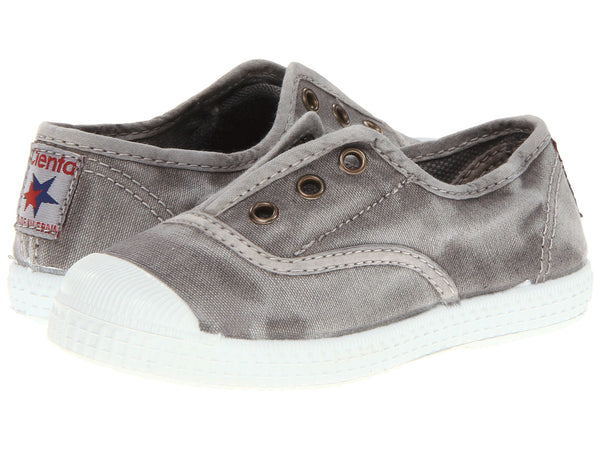 Grey Denim Distressed Cienta Canvas Slip On