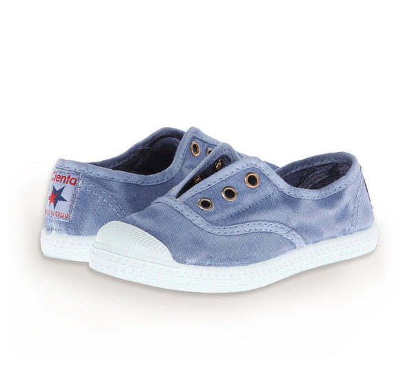 Blue Denim Distressed Cienta Canvas Slip On