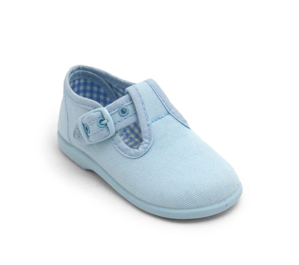 Light Blue Canvas T-Strap Shoes With Buckle Fastening