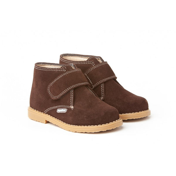 Suede Boots with Riptape in Brown