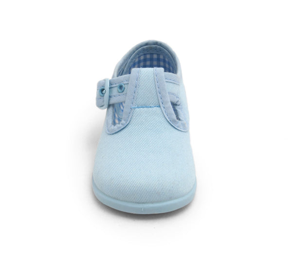 T-strap, toddler shoes, cotton canvas shoes, Light Blue Canvas T-Strap Shoes With Buckle Fastening