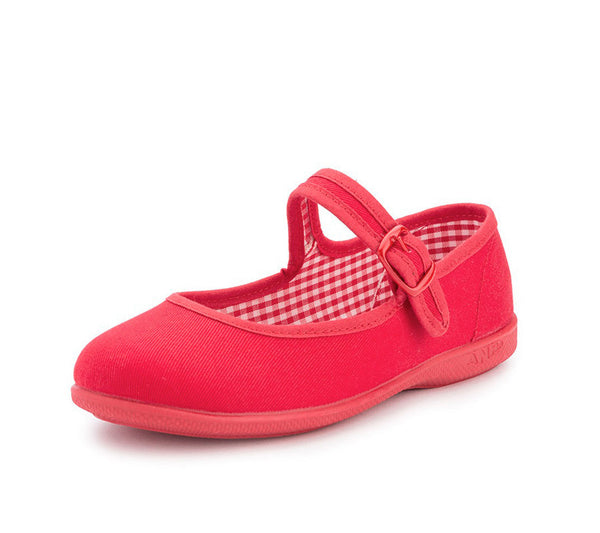 Red Canvas Buckle Mary Janes