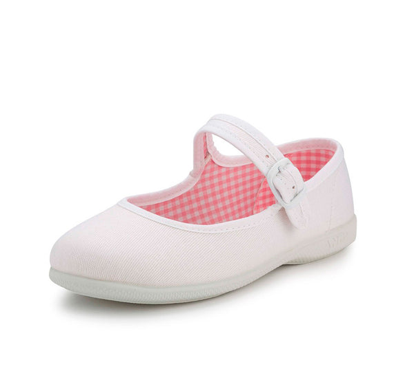 White Canvas Buckle Mary Janes