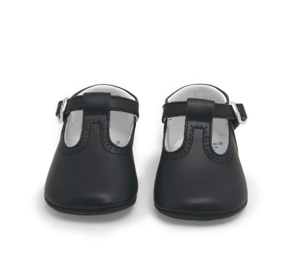 Baby t-strap shoes, baby moccs, Leather Dark Navy T-Strap Pepito Baby Shoes