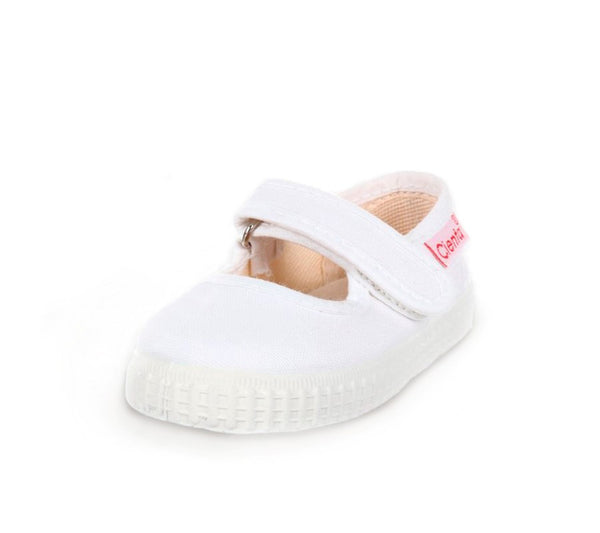 Canvas White Mary Janes Cienta Sneaker