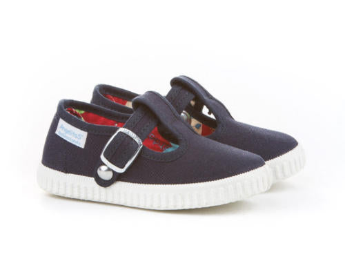 Navy Blue Canvas T-strap Sneakers for Babies and Toddlers, T-bar shoes