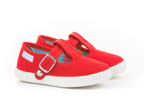 Red Canvas T-strap Sneakers for Babies and Toddlers