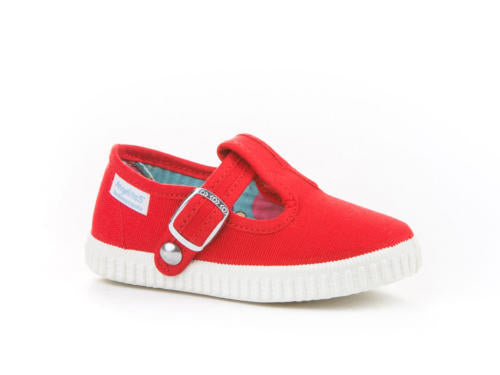 T-strap sneakers, t-strap toddler shoes, Red Canvas T-strap Sneakers for Babies and Toddlers