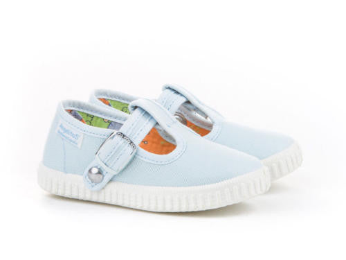 T-strap Canvas Light Blue Toddler Shoes,  Cotton Canvas Sneakers for Babies and Kids