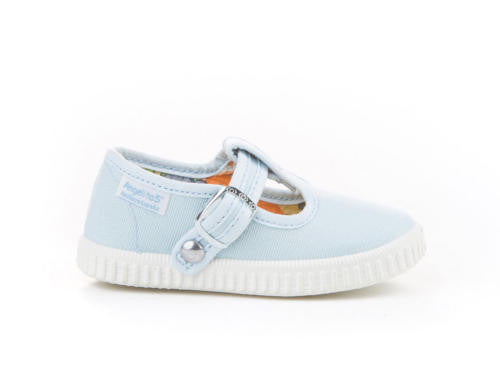 Baby blue Canvas T-strap sneakers for Babies and Kids
