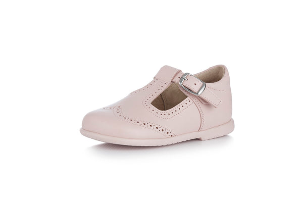 Pink T-strap Leather Shoes for baby
