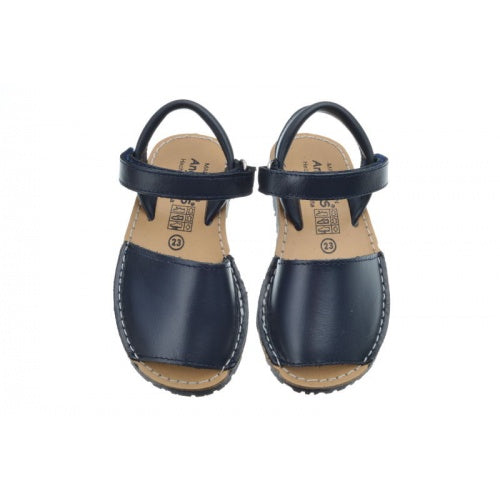 dark Navy Menorquina Leather Sandals
