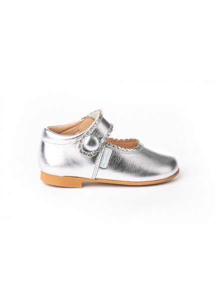 Girl metallic leather Mary Janes