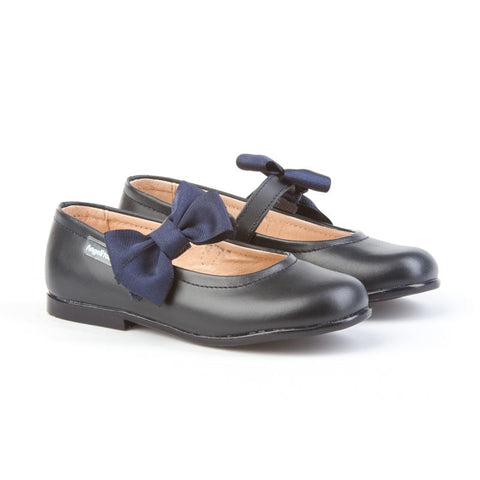 Leather Dark Navy Mary Janes shoes with riptape and removable bow