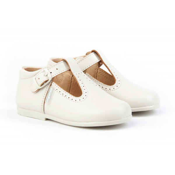 T-strap beige leather shoes, toddler shoes, t-bar shoes