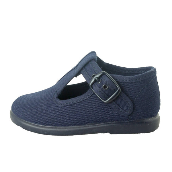 T-strap Canvas Navy Baby and Toddler Shoes, t-strap canvas shoes