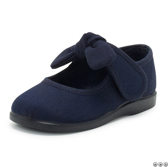 Mary Janes Navy Canvas Toddler Shoes, Riptape Canvas Shoes Mary Jane with Tie Bow