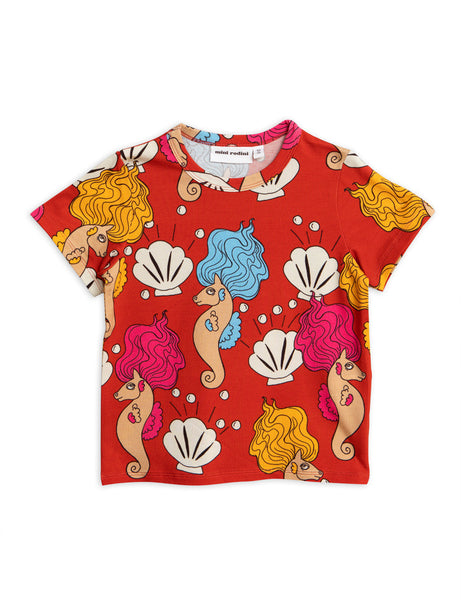 Mini Rodini SS Seahorse Tee | Red - Green Hearts Pink