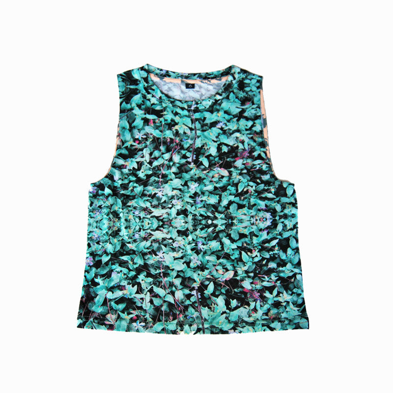 Agatha Cub Tank Top | Field Ocean - Green Hearts Pink