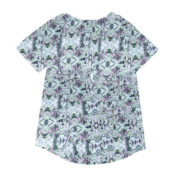 Agatha Cub T-Shirt | Leaf Mint - Green Hearts Pink