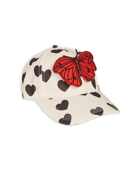 Mini Rodini Hearts Cap | Off White - Green Hearts Pink