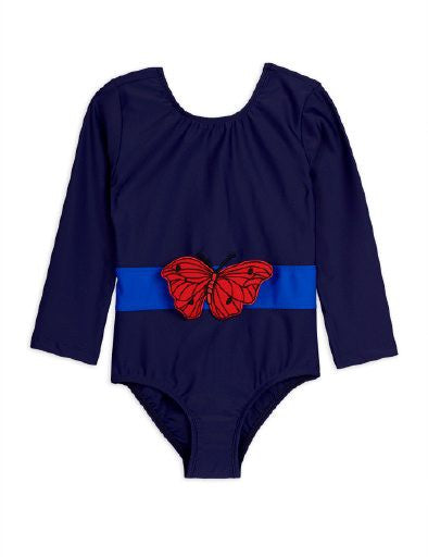 Mini Rodini Butterfly LS Swimsuit | Navy - Green Hearts Pink