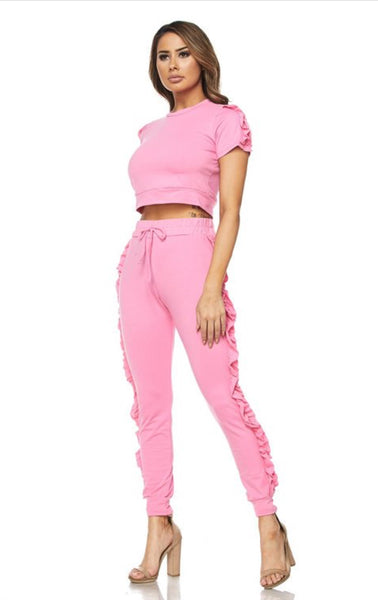 Ruffled Jogger Set SS | Bubble Pink - Green Hearts Pink