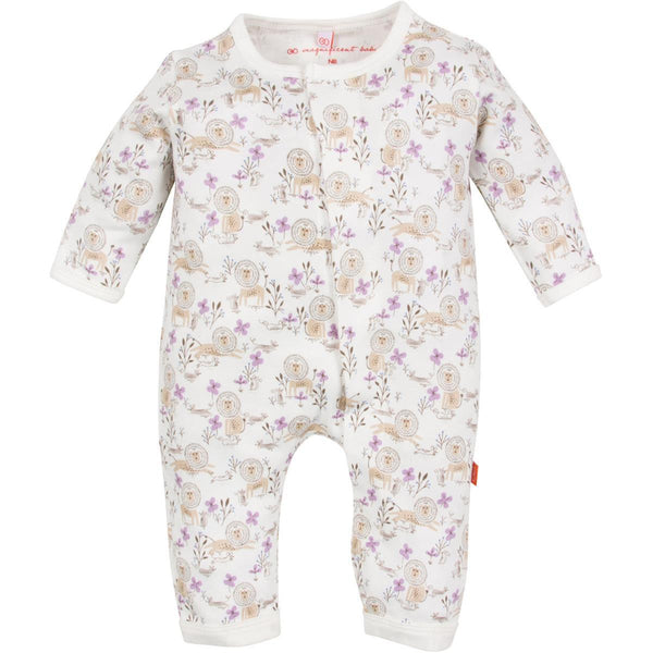 Magnificent Baby Unionsuit | Girls the Lion & Mouse - Green Hearts Pink