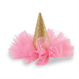 Mud Pie | Glitter Party Hat Clip - Green Hearts Pink
