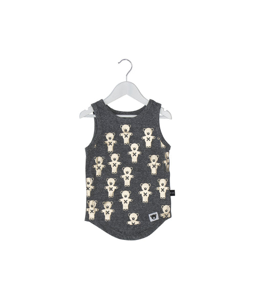 Huxbaby Tank Top | Soldier Bear - Green Hearts Pink