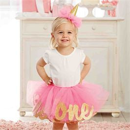 Mud Pie | I'm 2 Glitter Headband & Tutu Set - Green Hearts Pink