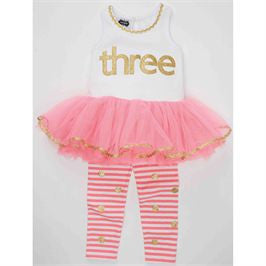 Mud Pie | I'm 3 Tunic & Leggings - Green Hearts Pink