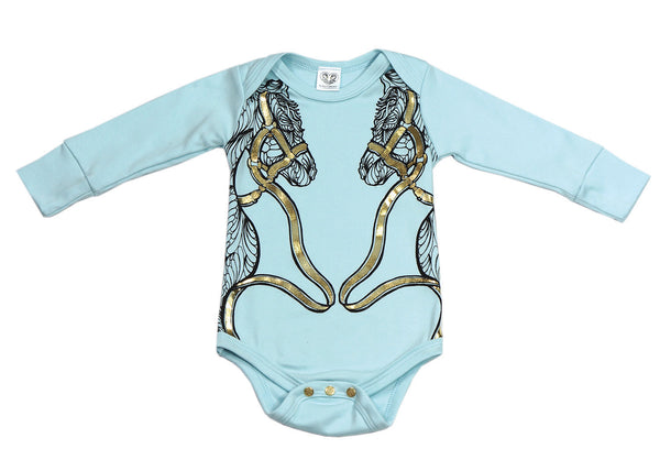 Karen Brost Horse Play Bodysuit | Bubba Blue - Green Hearts Pink