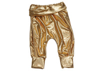 Karen Brost Baby Track Pants | Gold Lame - Green Hearts Pink