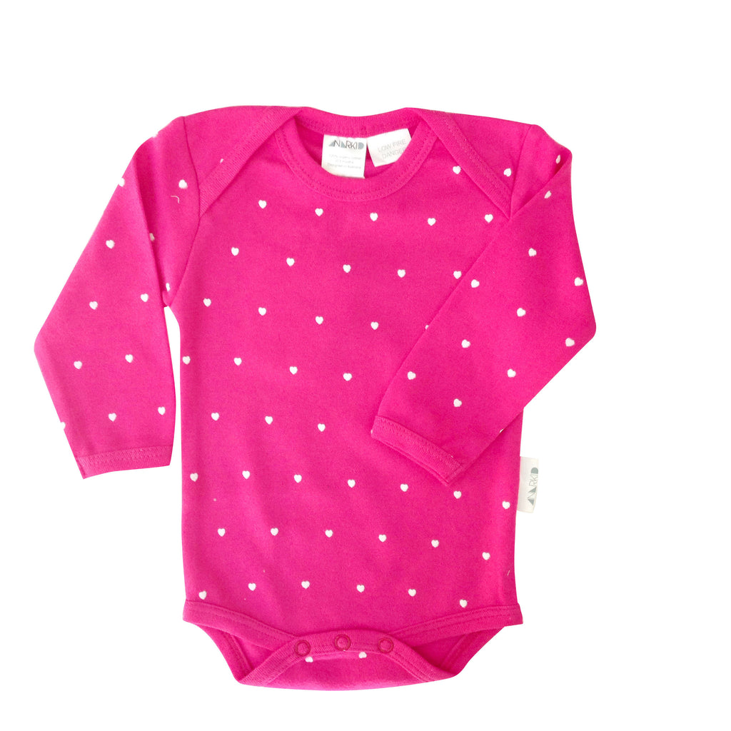 Anarkid Long Sleeve Bodysuit | Magenta - Green Hearts Pink