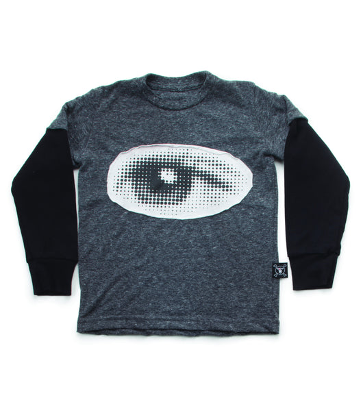 Nununu Eye Patch LS T-Shirt | Charcoal - Green Hearts Pink