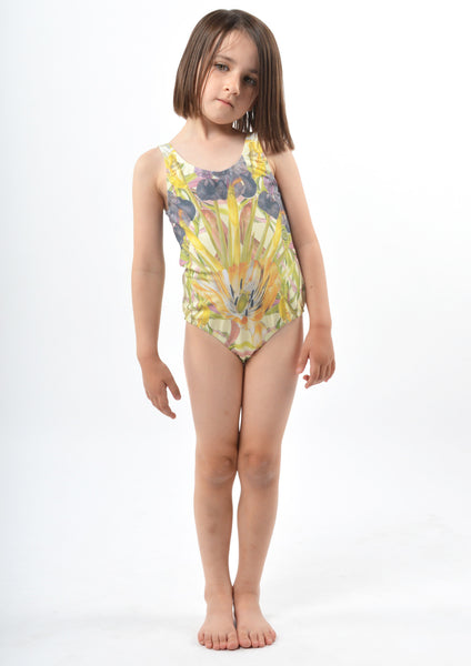 Popupshop Swimsuit | Flower - Green Hearts Pink