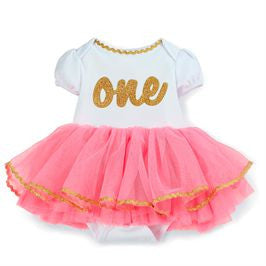 Mud Pie | Tutu Crawler - Green Hearts Pink