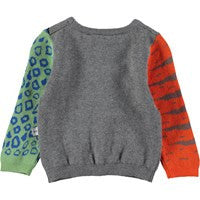 Molo Beeb Sweater | Melange - Green Hearts Pink