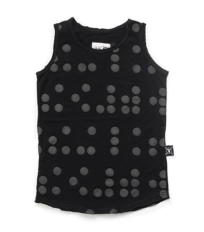 Nununu Braille Tank Top | Black - Green Hearts Pink