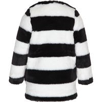 Molo Hilarie Jacket | Black and White Stripe - Green Hearts Pink