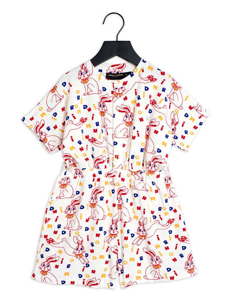 Mini Rodini Rabbit AOP Summersuit | Off White