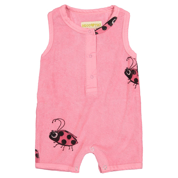 Hugo Loves Tiki Terry Shorts Romper | Pink Ladybug - Green Hearts Pink