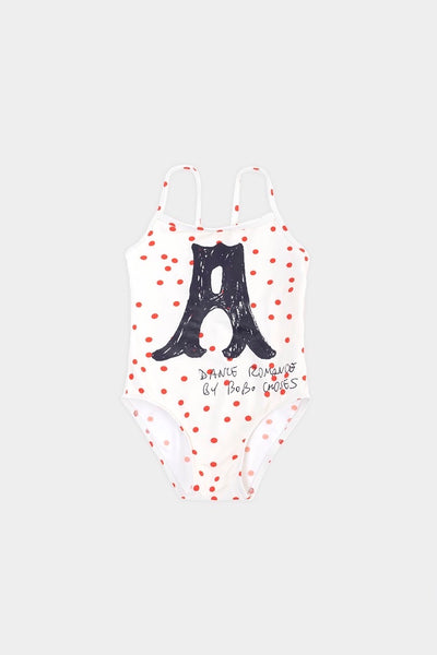 Bobo Choses A Dance Romance Dots Swimsuit - Green Hearts Pink