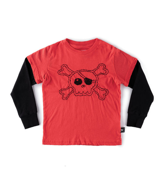 Nununu Festive Skull T-Shirt | Red - Green Hearts Pink