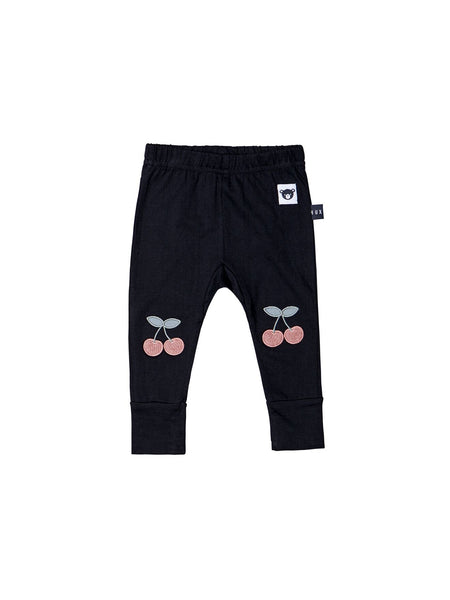Huxbaby Cherry Patch Leggings | Black - Green Hearts Pink