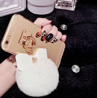 Fur Pom Pom + Bow Phone Case | White - Green Hearts Pink