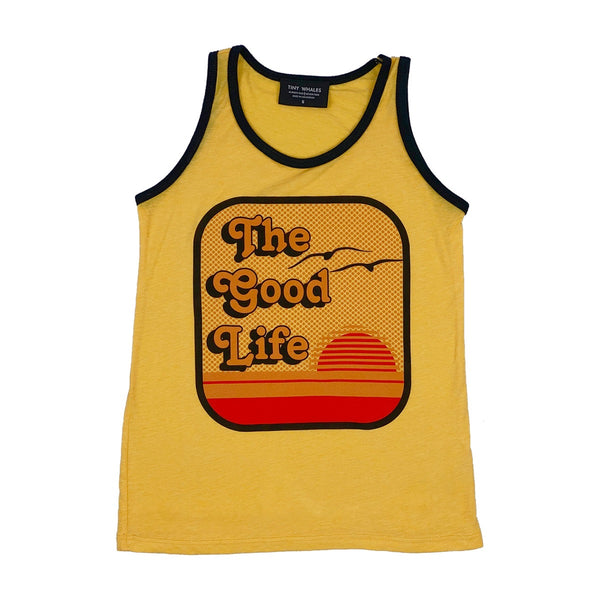 Tiny Whales Good Life Tank Top | Tri Yellow - Green Hearts Pink