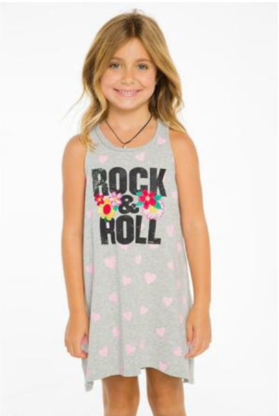 Chaser Tank Dress | Rock & Roll - Green Hearts Pink